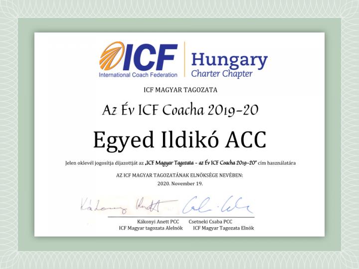 Egyed Ildikó ACC az Év ICF Coacha 2019-20 pályázat nyertese!