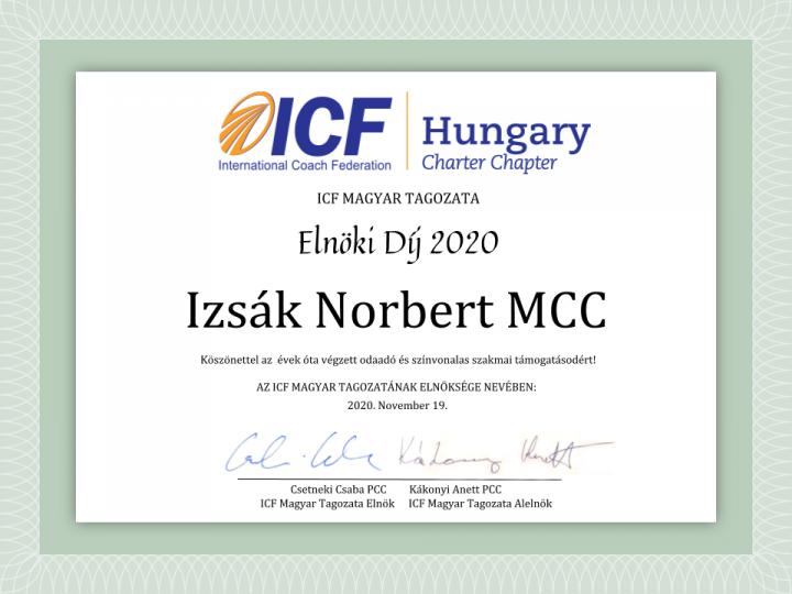Izsák Norbert MCC az ICF Magyar Tagozata Elnöki Díj kitüntettje